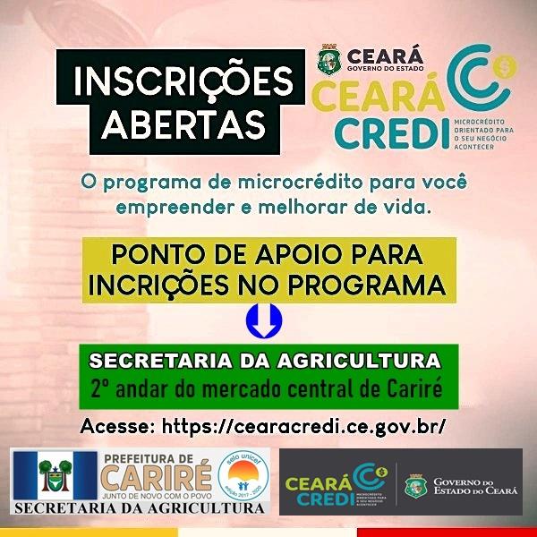 """Secretaria da Agricultura de Cariré tem um ponto de apoio para quem quiser se inscrever no programa """"Ceará Credi"""""""
