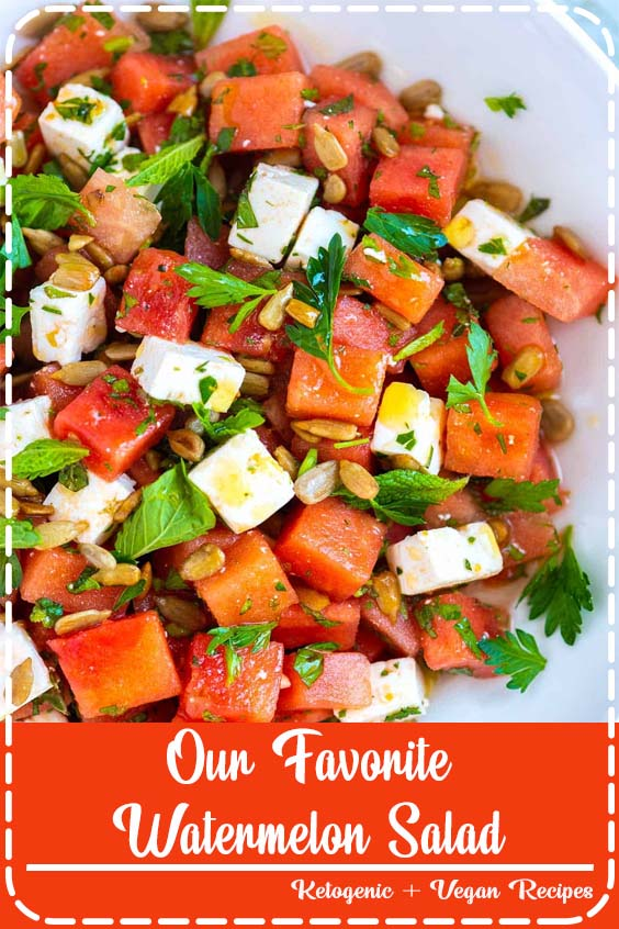 Watermelon salad is light and fresh with an almost addictive salty Our Favorite Watermelon Salad