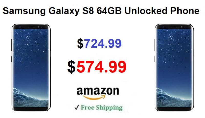 amazon deal save 150 on samsung galaxy s8 64gb unlocked. Black Bedroom Furniture Sets. Home Design Ideas