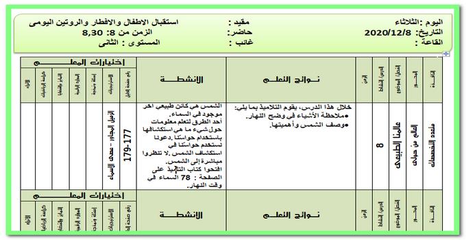 تحضير المستوى الثاني ليوم الثلاثاء 8 ديسمبر