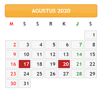 KALENDER BULAN AGUSTUS TAHUN 2020