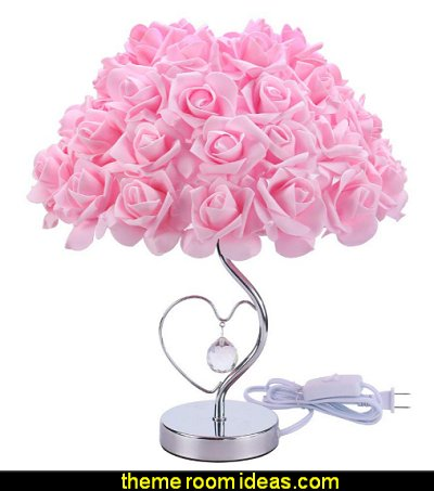 Pink Rose Lamp  romantic bedroom decor Crystal Pendant Lighting romantic bedrooms