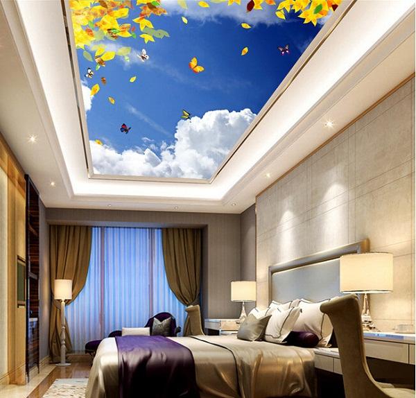 Mẫu trần phòng ngủ in bầu trời 1