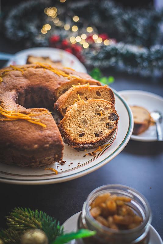 Rum raisin cake with orange glaze