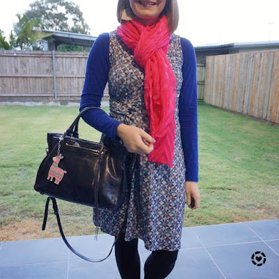 awayfromtheblue Instagram colourful wrap dress outfit for winter pink scarf cobalt tee  regan bag