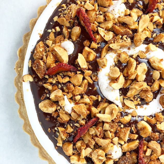 Final Rocky Road Tart Covered with Spiced Candied Peanuts and Oven Dried Strawberries