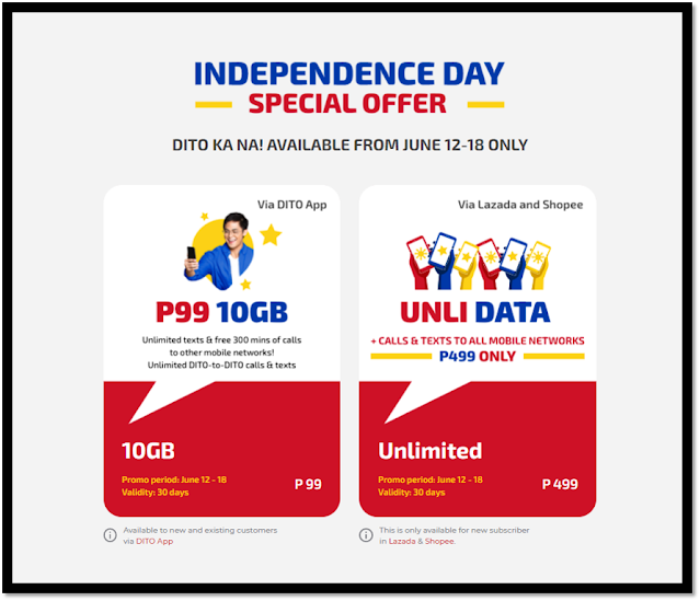 INDEPENDENCE DAY Special Offer - DITO UNLI 499 & DITO FREEDOM 99