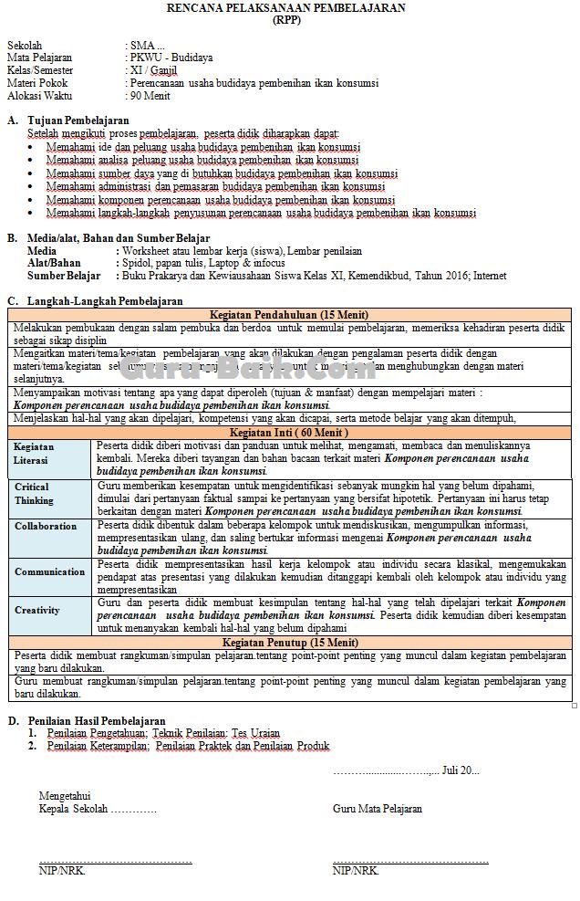 Gambar RPP 1 Lembar PKWU Kelas 11 Tahun 2021/2022