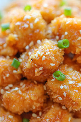 breaded sesame chicken with honey sauce