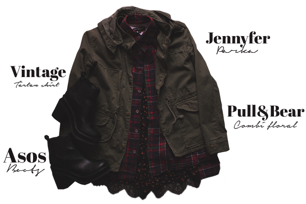 ootd, outfits, clothes, clothing, vintage, grunge, alternative, punk, tartan shirt, parka, jennyfer, boots, asos, pullandbear, romper, denim jacket, studded, velvet legging, HM, Creepers, fashion, mode, streetwear,
