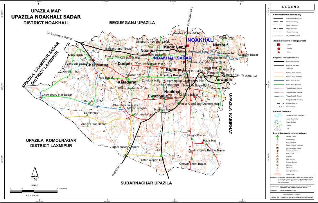 Noakhali Sadar Upazila Map Noakhali District Bangladesh