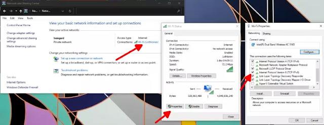 Cara Mengatasi No Internet, secured di Windows 10-3