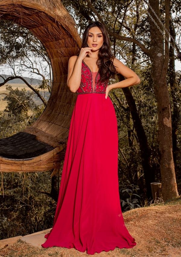 vestido longo vermelho para madrinha de casamento