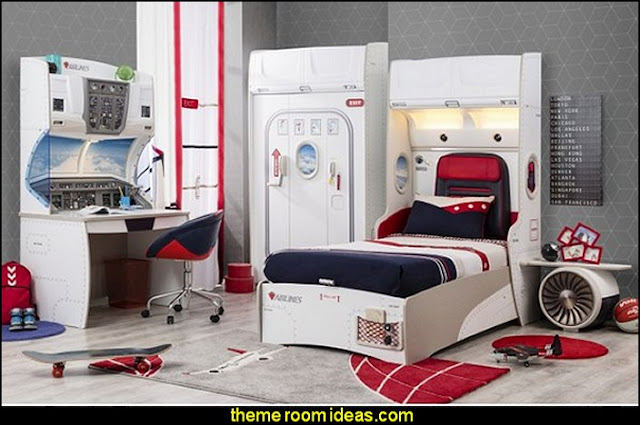 airplane theme bedroom - Aviation themed bedroom ideas - airplane bed - airplane murals - airplane room decor - Airplane rooms - airplane theme beds - airplane decor  pilot chair furniture