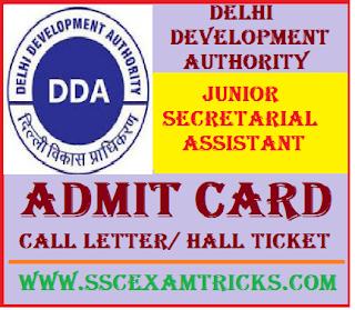 DDA Junior Secretarial Assistant Admit Card