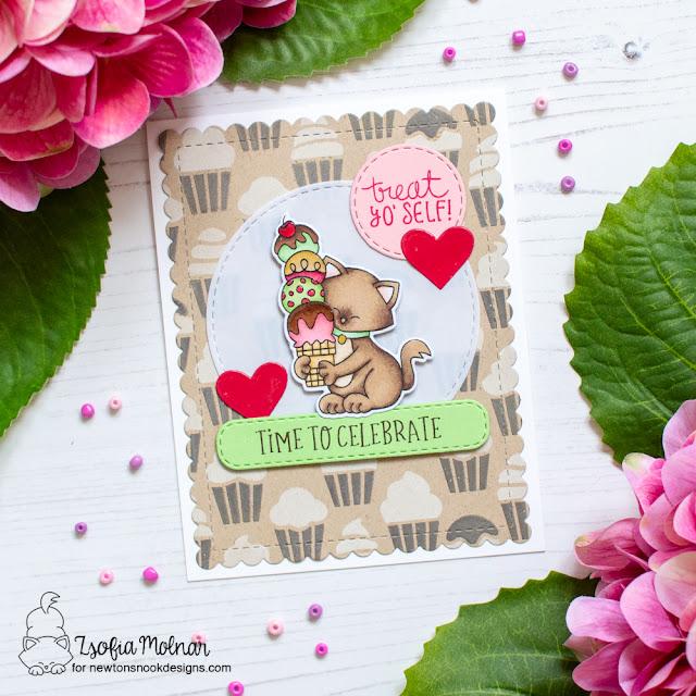 Treat Yo' Self Card by Zsofia Molnar   Newton's Summer Treats Stamp Set, Cupcakes Stencil Set and Circle Frames Die Set by Newton's Nook Designs #newtonsnook #handmade