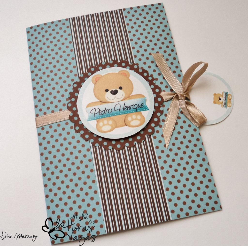 convite artesanal aniversário infantil ursinho poá marrom azul turquesa bebê 1 aninho
