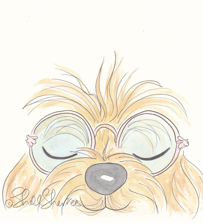 Woof You cute dog fluffballs illustration  © Shell Sherree all rights reserved