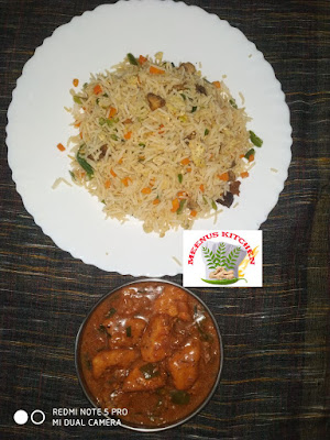 Fried rice and chilli chicken gravy