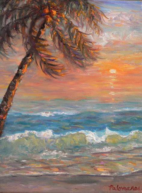 Painting of a beach with a Palm Tree by the seasdie for coastal decor