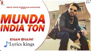 Munda India Ton lyrics in Punjabi