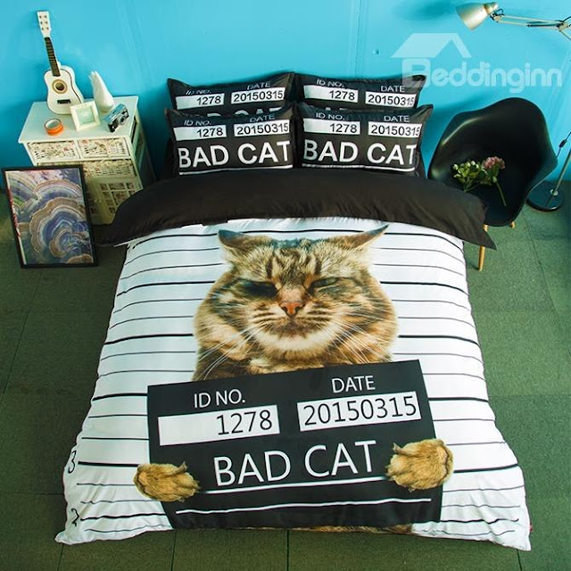 Unique Design Bad Cat Print 4-Piece Polyester Duvet Cover Sets