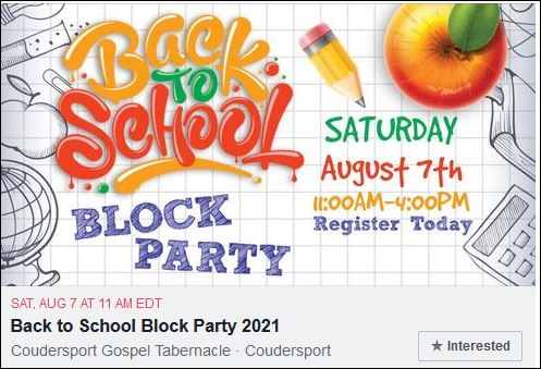 8-7 Back to School Block Party, Coudersport