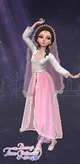 Dawn Breaks costume--a sheer pink skirt over a long-sleeved white top with a long pink veil with pearl accents