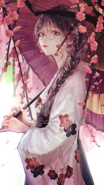 Anime girl with kimono holding umbrella