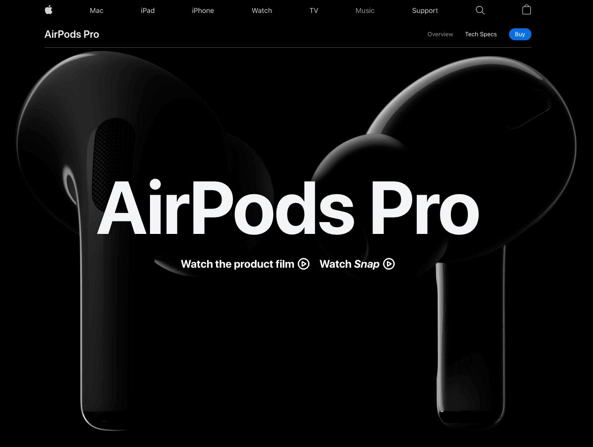 Screengrab of Apple AirPod Pros' dark mode landing page