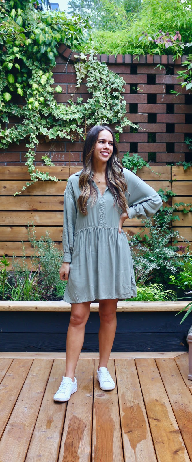 Jules in Flats - Long Sleeve Mini Dress with Sneakers (Business Casual Workwear on a Budget)