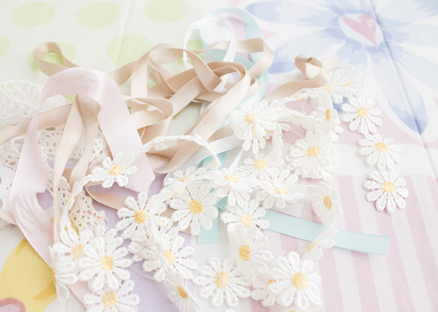 lace trim pastel ribbons
