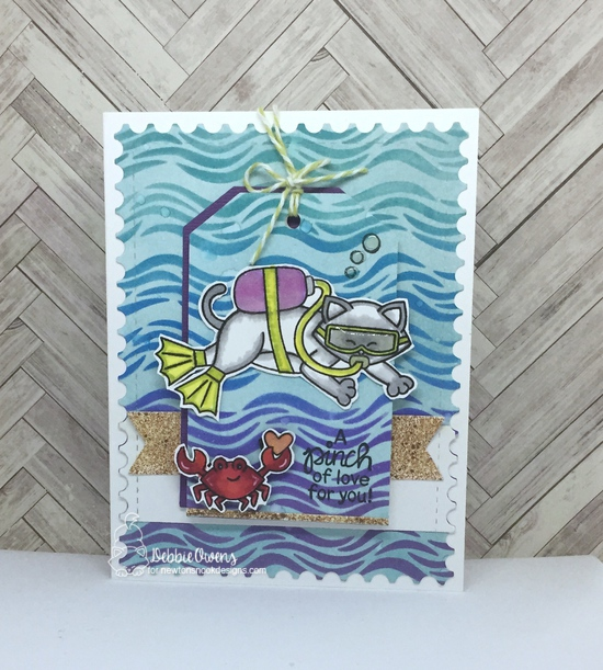 A pinch of love by Debbie features Waves, Scuba Newton, Tides of Love, Fancy Edges Tag, Frames & Flags, and Framework by Newton's Nook Designs; #newtonsnook