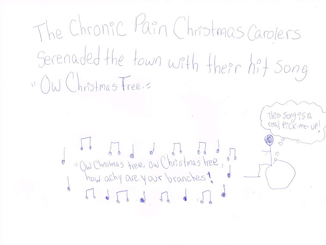 "Lyrics are surrounded by music notes, ""Ow Christmas tree, ow Christmas tree, how achy are your branches!"" A nearby wheelie says, ""This song is a real pick me up!"""