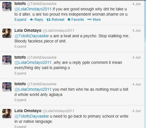 Guy insults Peter's baby mama Lola Omotayo on twitter
