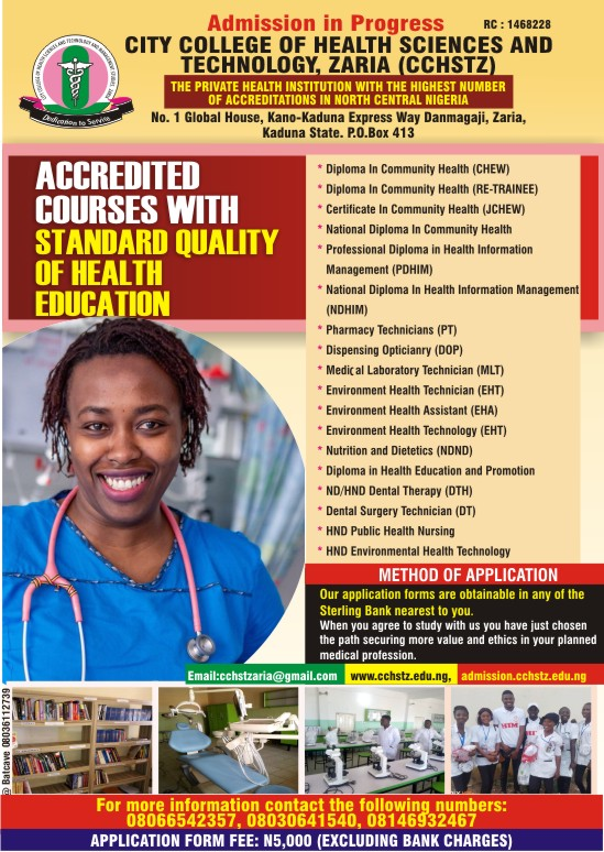 CCHSTZ Admission Form 2021/2022   ND, HND, Diploma & Cert.