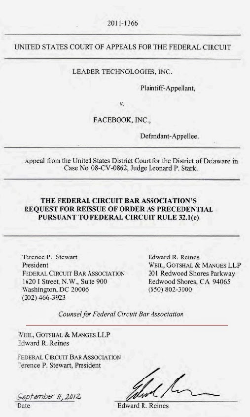 Leader Tech v. Facebook, Federal Circuit Bar Association (FCBA) filing by Edward R. Reines, Weil Gotshal LLP, Sep. 11, 2012