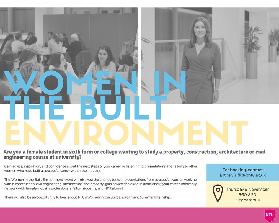 Women in the built environment ntu Nottingham Trent university poster event construction civil engineering feminism empowerment female feminine girls student study