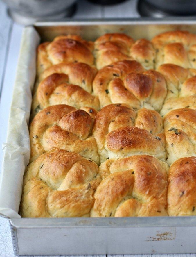 Soft Summer Herb Bread Knots after baking