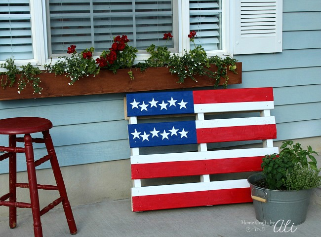 red white and blue pallet flag with flowers