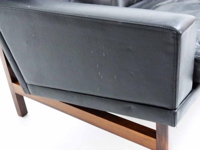 Sven Ellekaer Danish Modern Rosewood & Leather Sofa 6