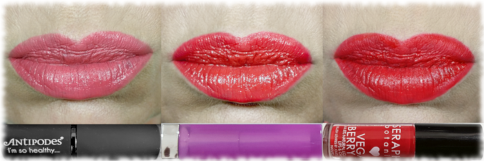 Antipodes South Pacific Coral, Maybelline Rose Rush & Seraphine Cherry Cream