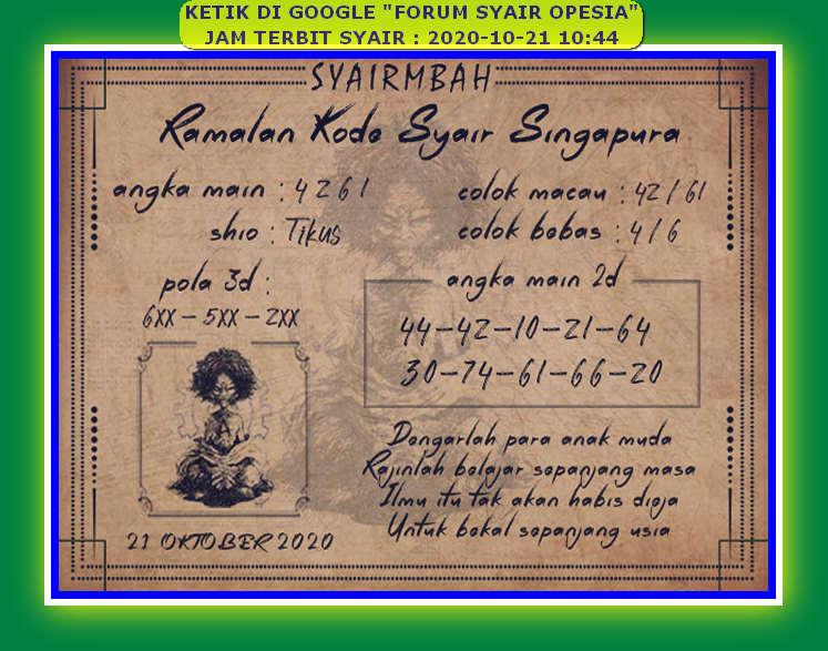Kode syair Singapore Rabu 21 Oktober 2020 99
