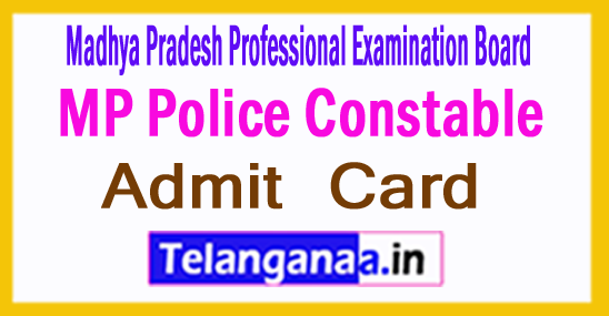 MP Police Constable Admit Card 2017