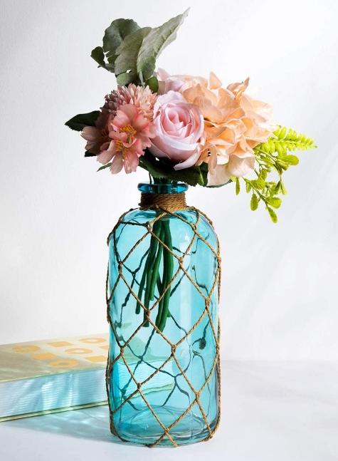 Blue Rope Net Wrapped Bottle Vase