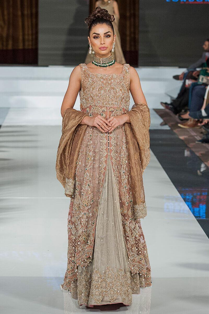 Brown and Beige Bridal long gown by Aisha Imran