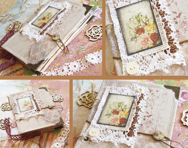 Винтажный блокнот с розами в тканевой обложке.