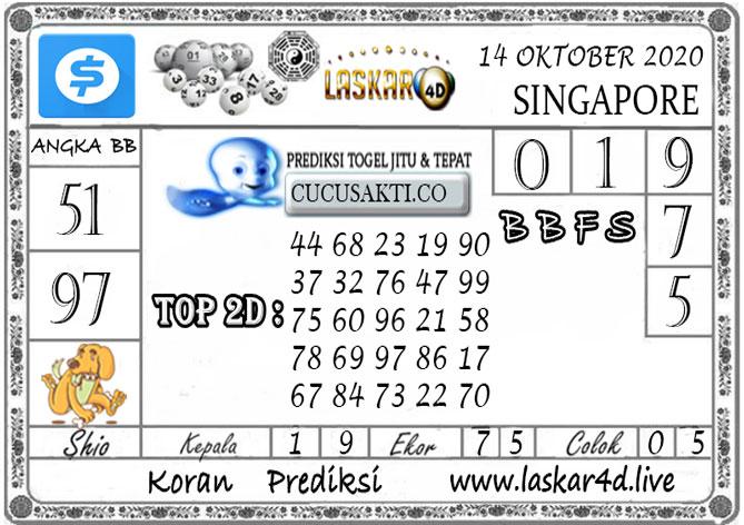 Prediksi Togel SINGAPORE LASKAR4D 14 OKTOBER 2020
