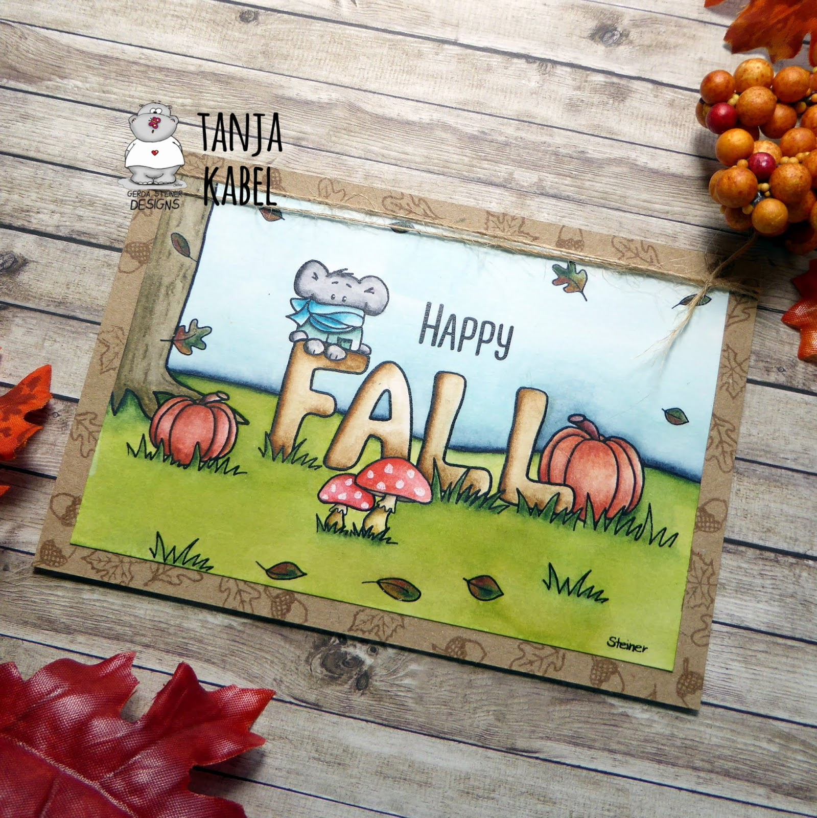 Color The Gerda Steiner Designs Happy Fall Printable With Derwent Inktense Pencils Watered Down Distress Ink Tumbled Glass Peeled Paint And A Damp