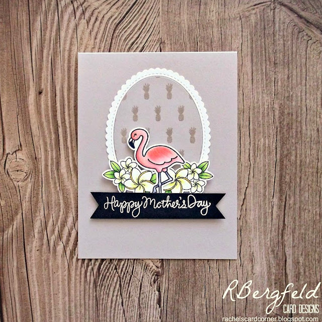 Sunny Studio Stamps: Tropical Paradise Flamingo Summertime card by Rachel Bergfeld